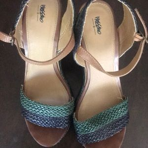 Green as blue woman's wedges